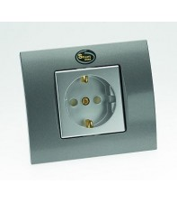 Одиночная High-End сетевая розетка Silent Wire SW16 Wall socket Silver