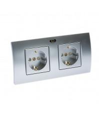 Двойная High-End сетевая розетка Silent Wire SW16 TwinWall socket Silver