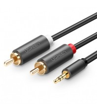 Межблочный кабель UGREEN AV102 3.5 mm to 2RCA Audio Cable, 1.5 m Gray 10511