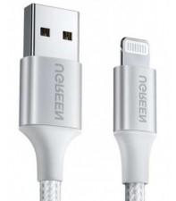Межкомпонентный кабель Ugreen US291 USB-A 2.0 - Lightning, MFI, Braided with Aluminum Shell White 1.5 м